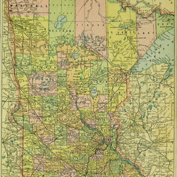 Consignment Original Antique Map of Minnesota, 1891 - An original antique color wood engraving of the state of Minnesota showing lakes, rivers, counties, railroads, and towns, 1891. Over 100 years old. Neatly trimmed margins.