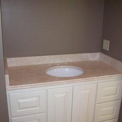 Vanity countertop gallery crema marfil marble for Crema marfil bathroom countertop