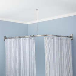 Extra-Heavy Corner Shower Curtain Rod - Surround a two-sided shower space with this Extra-Heavy Corner Shower Curtain Rod, made of durable brass to endure moisture in the bathroom. This set includes a ceiling support, heavy-duty flanges, wall anchors and screws for a secure installation.