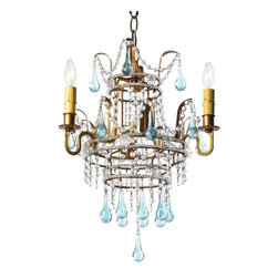 Canopy Design - Orleans Chandelier - On a beautiful tiered frame, the Antique gold finished steel light fixture showcases beautiful metal leaves, sea blue glass beads and crystal drapes. Accepts three 60W max bulbs (not included). Chain and canopy included. Hardwired. Chang 3'L