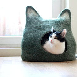 Handmade Felted Wool Cat Cave by Agnes Felt - I can't imagine a better kitty hangout spot than in this adorable felted wool cat cave.