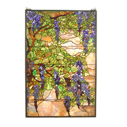 "Meyda - 32""W X 48""H Tiffany Wisteria & Snowball Stained Glass Window - A magnificent reproduction of a louis comfort tiffanyoriginal, meyda's tiffany wisteria and  snowball window isan extraordinary work of art. Handcrafted utilizing the copper foil construction process and 1,113 pieces ofstained art glass encased in a solid brass frame, eachwindow is a unique creation to be forever treasured.mounting bracket and jack chain included."