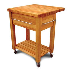Catskill Craftsmen - Baby Grand Workcenter Kitchen Cart - This kitchen cart provides the same rugged construction as the grand kitchen cart while being sized to compliment smaller work areas. Made of solid North American hardwood, this kitchen cart offers two locking wheels, three chrome towel bars, and a large capacity 9-inch deep drawer. The drop leaf is perfect for smaller spaces, giving you extra room to work without permanently occupying precious kitchen space. Features: -1.75'' Thick top with rounded edges and corners.-Slatted storage shelf.-Three chrome towel bars.-Constructed from North American hardwood in the Catskill Mountains.-Natural oil finish.-Grand Workcenter collection.-Collection: Grand Workcenter.-Distressed: No.-Product Type: Kitchen Island.-Base Finish: Natural Wood.-Counter Finish: Natural Wood.-Hardware Finish: Nickel plated.-Powder Coated Finish: No.-Gloss Finish: No.-Base Material: Yellow Birch.-Counter Material: Yellow Birch.-Hardware Material: Nickel plated.-Solid Wood Construction: Yes.-Stain Resistant: No.-Warp Resistant: No.-Exterior Shelves: Yes -Number of Exterior Shelves: 1.-Adjustable Exterior Shelving: No.-Number of Exterior Shelves: 1.-Adjustable Exterior Shelving: No.-Number of Exterior Shelves: 1.-Adjustable Exterior Shelving: No.-Number of Exterior Shelves: 1.-Adjustable Exterior Shelving: No..-Drawers Included: Yes -Number of Drawers: 1.-Push Through Drawer: No.-Drawer Glide Extension: Yes.-Dovetail Joints: No.-Drawer Dividers: No.-Drawer Handle Design: Bar.-Silverware Tray : No.-Number of Drawers: 1.-Push Through Drawer: No.-Drawer Glide Extension: Yes.-Dovetail Joints: No.-Drawer Dividers: No.-Drawer Handle Design: Bar.-Silverware Tray : No.-Number of Drawers: 1.-Push Through Drawer: No.-Drawer Glide Extension: Yes.-Dovetail Joints: No.-Drawer Dividers: No.-Drawer Handle Design: Bar.-Silverware Tray : No.-Number of Drawers: 1.-Push Through Drawer: No.-Drawer Glide Extension: Yes.-Dovetail Joints: No.-Drawer Dividers: No.-Dra