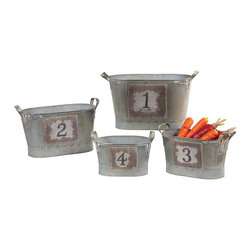 Count Your Blessings Metal Buckets - Set of 4 - Fill these charming and rustic numbered buckets with an arrangement of your favorite flowers, or use them to display your mailbox number. Not enough numbers? Use them for gathering fresh veggies from your garden and for everyday around-the-home organization.