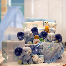 """Gift Basket Drop Shipping - A Baby is Heaven Sent Gift Basket - Blue - 890452-B - Shop for Baby Gifts from Hayneedle.com! Newborns are so small so perfect it's easy to believe they're from another world - a heavenly one of course. Our A Baby Is Heaven Sent Gift Basket- Blue welcomes new little boys to our world with an assortment of blue elephant-themed soft clothing plush toys and blankets and a few extra-sensitive grooming products to prepare for a photo or 10 to slip into the included album. It's all delivered in a reusable white fabric-lined baby basket.Gift Basket IncludesBaby elephant photo album Plush baby elephant Plush Heaven Sent security blanket 2 onesies Baby blanket J & J baby shampoo Teether Washcloth set Booties White fabric-lined baby basketEnsure freshness: During warm weather we highly recommend selecting """"Next Day"""" or """"2 Day"""" shipping at checkout. We can guarantee proper delivery of chocolates and perishable goods only if one of these delivery options is chosen. After all you selected chocolates not chocolate sauce. Also please note that to avoid spoilage some perishables may be replaced with items of comparable value and deliciousness.Please note that for this item the following services are available during the checkout process:Multiple Ship-To which allows you to send gifts to several recipients with a single order.Future Delivery which lets you select a specific date for delivery so your gift arrives at the perfect time.About Gift Basket Drop ShippingGift Basket Drop Shipping has been helping customers send high-quality gift baskets for 16 years. Their reliability variety and careful attention to every detail have made them an industry leader. They currently offer over 186 different every day designs in addition to their outstanding selection of holiday-themed gift baskets. Most gift baskets are hand assembled and shipped directly from their Jackson Missouri headquarters."""