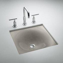 "KOHLER - KOHLER K-2827-K4 Iron/Tones Cast Iron Undercounter/Self-Rimming Lavatory - KOHLER K-2827-K4 Iron/Tones cast iron undercounter/self-rimming lavatory, 16-3/8"" x 15-5/8"" in Cashmere"