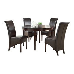 """Monarch Specialties - Monarch Specialties 1740-1776BR 5-Piece Round Dining Room Set in Dark Espresso - This dining table offers rich design and transitional styling that invites a relaxed setting into your home. Finished in a dark espresso, this clean lined 48"""" round dining table will create the perfect look for intimate dinners or casual get together. This piece features thick block legs and a large eating area to accommodate all your friends."""