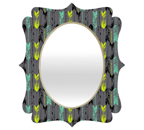 DENY Designs - Pattern State Arrow Line Spearmint Quatrefoil Mirror - Mirror, mirror on the wall. Who's the fairest one of all? We'll that's easy, the quatrefoil mirror collection, of course! With a sleek mix of baltic birch ply trim that's unique to each piece and a glossy aluminum frame, the rectangular mirror makes you feel oh so pretty every time you catch a glimpse. Custom made in the USA for every order.