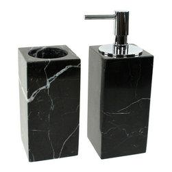 Gedy - Black 2-Piece Marble Bathroom Accessory Set - Luxurious black marble bathroom accessory set perfect for a modern bathroom.