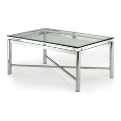Steve Silver - Nova Cocktail Table - Glass Top - Bring perfection and brilliance to your home with the Nova Tempered Coffee Table. A glass top and chrome x pattern base will make this collection your rooms centerpiece for years to come.
