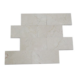 Crema Marfil 3 X 6 Marble Mosaic Tiles - CREMA MARFIL 3 X 6 Marble Stone Tile This minimalist design would make a striking backsplash for your kitchen or bring a modern touch to your fireplace or any other decorated spot in your home. This is a natural material will have a color variation. Chip Size: 3x6 Color: Crema Marfil Material: Crema Marfil Finish: Polished Sold by the Square Foot - 8 pieces per sq. ft.