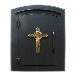 Qualarc, Inc. - Manchester Mailbox, Cross Logo, Black - This decorative cast aluminum mailbox insert can be matched with an optional newspaper holder or address plaque. The doors are sealed against the weather and its 22 gauge steel masonry box is electro-galvanized and powder coated to last.