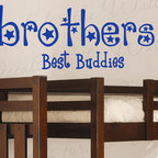 Decals for the Wall - Wall Quote Decal Sticker Vinyl Art Brothers are Buddies Boy's Nursery Room K84 - This decal says ''Brothers, best buddies''