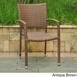 International Caravan - International Caravan Barcelona Resin Wicker/Aluminum Outdoor Stackable Armchair - This resin wicker chair is the perfect way to perk up your patio or porch. The sturdy outdoor chair features a strong aluminum base finished in a weatherproof wicker design. When the season's over,the chair is easily stacked for storage.
