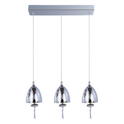 ET2 - ET2 E24353-81 3 Light Adjustable Height Pendant from the Chute Collection - Bulb - ET2 E24353-81 Chute 3 Light Adjustable Height PendantWith its adjustable height, this 3 light pendant will fit into almost any lighting application. The blown glass dome, matching glass ornament, and beveled crystal finials make this versatile piece a sight to behold.Chute collection's blown glass domes, available in Matte White or Mirror Chrome, suspend in the air by adjustable cables. Highlighted by the light are matching glass ornaments and beveled crystal finials. Unique canopies and hardware of Polished Chrome add to the eclectic nature of this design.ET2 E24353-81 Features: