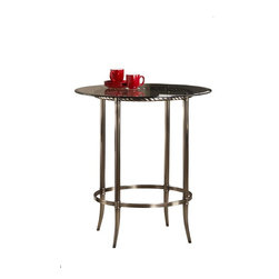 Hillsdale Furniture - Bar Height Pub Table - Constructed of sleek, functional metal. Round, glass top supported by an elegantly twisting base with an antique pewter hued finish. Brings a sophisticated luster to any space. Some assembly required. . 38 in. W x 38 in. D x 41 in. H (65.25 lbs.)