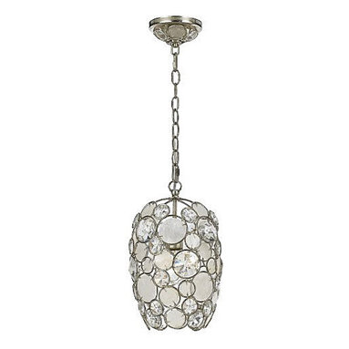 Palla Mini Pendant by Crystorama - Palla mini pendant available in Antique Silver Leaf Wrought Iron finish paired with clear crystal and white Capiz shell accents. Palla family also includes pendant, chandelier, flush mount, bath bar, and other wall sconce versions. One 75 watt 120 volt A19 incandescent lamp not included.