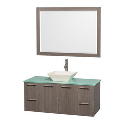 Wyndham Collection - 48 in. Modern Wall Mounted Vanity Set in Grey Finish - Includes mirror, drain assemblies and P-traps for easy assembly. Faucet not included. Modern clean lines. Eight stage preparation. Veneering and finishing process. Highly water resistant low V.O.C. sealed finish. Unique and striking contemporary design. Deep doweled drawers. Fully extending soft close drawer slides. Soft close door hinges. Single hole faucet mount. Two functional doors. Four functional drawers. Plenty of storage space. Green glass top. Bone porcelain sink. Engineered for durability and to prevent warping and last for lifetime. 0.75 in. thickness mirror. Metal exterior hardware with brushed finish. Made from highest quality grade E1 MDF. Minimal assembly required. Mirror: 46 in. W x 33 in. H. Vanity: 48 in. W x 21.75 in. D x 20.25 in. H. Care Instructions. Assembly Instructions - Sink. Assembly Instructions - MirrorTruly elegant design aesthetic meet affordability in the Wyndham Collection Amare Vanity. The attention to detail on this elegant contemporary vanity is unrivalled.