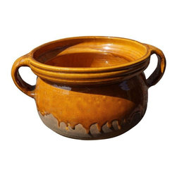Pre-owned Drip Glazed Earthenware Pot - This is a fabulous Clay earthenware pot with dripped Glaze.  A great objet on its own or fill it with decorative balls, lemons or your favorite treasures.