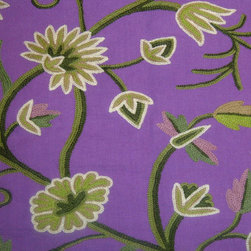 Crewel Fabric Grapes Purple Cotton Duck- Yardage - Inspiration: Grapes is a pattern inspired by Fresh Vineyards from France. The word Grapes means Fresh, Young, New etc;.History: Grapes was developed by English Crewel Craftsman inspired by the Fresh Vineyards of France.Use: Grapes Crewel Fabric is for you if you want a beautiful Vine flowing in your Upholstery and Drapery. It Enriches our Living by bringing vineyards of France and the beauty of France into our homes.