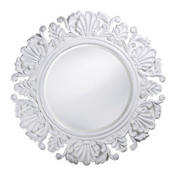 Nita Ornate Round Mirror - This inexpensive option comes in a variety of lacquered finishes. It would look great over the vanity in a powder room.