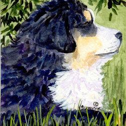 Caroline's Treasures - Bernese Mountain Dog Flag Canvas House - Full size house flag is made from a 100% polyester heavy weight canvas material. Not your typical house flag that you might find from a mass merchant. These flags are only sold online and in specialty boutiques. This flag is much heavier than most flags currently being sold by other manufacturers. This flag is fade resistant and weather proof. The flag measures approximately 28 inches x 40 inches (wooden flag pole, hanging bracket or yard stand sold seperaletly)