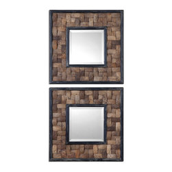 Uttermost - Uttermost 7062 Barros Woven Coconut Shell Square Accent Wall Mirror - Set of 2 - Coconut Shell in Basket Weave Design