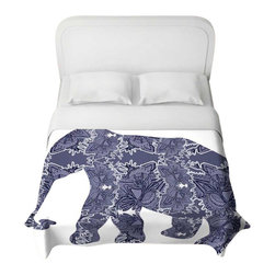 DiaNoche Designs - Elephant II Duvet Cover - Lightweight and super soft brushed twill duvet cover sizes twin, queen, king. Cotton poly blend. Ties in each corner to secure insert. Blanket insert or comforter slides comfortably into Duvet cover with zipper closure to hold blanket inside. Blanket not Included. Dye Sublimation printing adheres the ink to the material for long life and durability. Printed top, khaki colored bottom. Machine washable. Product may vary slightly from image.