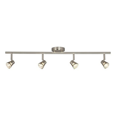 Galaxy / Excel Lighting - Four-Light Halogen Fixed Rail - 755594BN - Contemporary / modern brushed nickel 4-light directional spot light. Contemporary in style, this four-light track light has adjustable heads to shine the light wherever you need it to go. Takes (4) 50-watt halogen MR-16 bulb(s). Bulb(s) sold separately. Dry location rated.