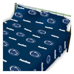 College Covers - Penn State Nittany Lions Collegiate Blue Queen Bed Sheets - Features: