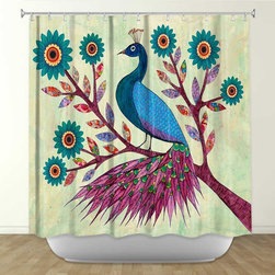 Shower Curtain HQ - Blue Peacock by Sascalia Fabric Shower Curtain, Made in the USA
