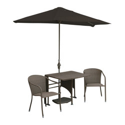 Blue Star Group - 5-Piece DANIELLA All-Weather Wicker Set w/ OFF-THE-WALL BRELLA - 36 In. DANIELLA Set Half-Square Table / Stacking Chairs / Coffee Finish