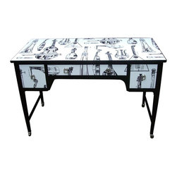 EcoFirstart.com - Edwardian table, with square tapered legs on original brass casters decorated in striking black and white wallpaper featuring an array of musical string instruments; lutes, cellos, lyres, double bass's etc.