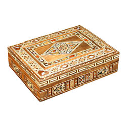 MBW Furniture - Medium Syrian Walnut Mosaic Jewelry Box w/ Mother of Pearl Inlay - This is a medium mosaic jewelry box that is handcrafted in Syria.  It is a beautiful mosaic piece, rich in vibrant colors and ornate designs.  Rested in the lid are red wood and peach wood inlays, which add luster to the finish and will bring something to any room that it may be placed in.  This item has a mystique about it, an air of flamboyance with grace, it would be the perfect gift for that one person you know who has everything.  The mosaic furniture we import from Syria is of the highest quality found anywhere. We hand pick each piece we buy for quality. You can purchase this furniture from us cheaper than you get it in Syria believe it or not. Please consider the features below for our gorgeous 100% hand made Syrian mosaic furniture. Solid Walnut Wood Frame Hand Inlaid exotic woods like Peach wood, Apricot wood, Rose wood, Peach wood, lemon wood, cedar wood and olive wood. Genuine Inlaid Mother of Pearl (not the cheap imitations or plastic) Completely Hand Made (no mass production whatsoever). Same methods used today in the construction, where all the furniture is made in small workshops, not factories. We literally have a full time employee in Syria buying from over 30 small workshops. The Syrians are the first original producers of Arabesque mosaic inlaid furniture and accessories. Many surrounding countries like Egypt, Turkey, and Lebanon have tried to imitate the process with little success. There is a huge difference in the quality and craftsmanship and woods used. Syria sells mosaic furniture mainly to the Middle East due to heavy restrictions on importing from Syria to other countries like the USA. MBW FURNITURE, INC is one US based direct importer with the ability to import from Syria (however with extreme difficulty). We are not sure yet if we will be able to continue to import this furniture in the future due to the extreme difficulty and restrictions by customs inspections and political conditions and changes. You are getting one of a kind, unique furniture that will last a lifetime. You are getting the best Syrian mosaic furniture in the world from us; hand picked and selected, BAR NONE. Please shop around and come to us later to compare prices. Remember, there are different quality levels of Syrian mosaic furniture, we only import the cream of the crop quality with the real mother of pearl inlay and high end finish. Many sellers will sell you the cheap stuff; we cannot compete price wise with low end items because there is a world of difference in quality!