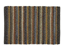 Pinstripe Navy 2'x3' Rag Rug - Cotton remnants from the textile and garment industries find new expression in our handcrafted rugs, loomed by skilled artisans on traditional, heavy-duty pitlooms. The combination of remnant weft and white cotton warp creates an array of colors within each thin pinstripe. Due to the artisanal nature of this rug, each one will be slightly different and unique.