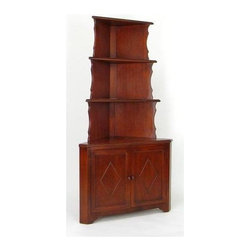 Wayborn - Corner Display Unit w Cabinet in Birchwood - 3 Shelves. 2 Doors. Made from Birchwood. Smooth finish. 36 in. W x in. D x 70 in. H (77 lbs.)Vintage corner display tower is the perfect piece for dens, living rooms, and dining rooms. This beautiful wooden corner display tower is the perfect piece for displaying decorative plates and storing larger platters. With shelves and doors opening to vast storage, this hand crafted display is sure to add that little bit of flair to tie your space together.