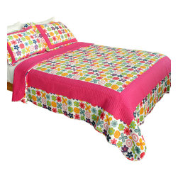 Blancho Bedding - Simple Happiness 100% Cotton 3PC Patchwork Quilt Set  Full/Queen Size - The [Simple Happiness] Quilt Set (Full/Queen Size) includes a quilt and two quilted shams. Shell and fill are 100% cotton. For convenience, all bedding components are machine washable on cold in the gentle cycle and can be dried on low heat and will last you years. Intricate vermicelli quilting provides a rich surface texture. This vermicelli-quilted quilt set will refresh your bedroom decor instantly, create a cozy and inviting atmosphere and is sure to transform the look of your bedroom or guest room. Dimensions: Full/Queen quilt: 90 inches x 98 inches; Standard sham: 20 inches x 26 inches.