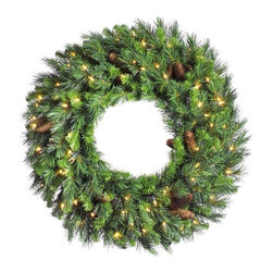 Vickerman Company - Vickerman 96 in. Cheyenne Pine Pre-lit Christmas Wreath with Cones Multicolor - - Shop for Holiday Ornaments and Decor from Hayneedle.com! About VickermanThis product is proudly made by Vickerman a leader in high quality holiday decor. Founded in 1940 the Vickerman Company has established itself as an innovative company dedicated to exceeding the expectations of their customers. With a wide variety of remarkably realistic looking foliage greenery and beautiful trees Vickerman is a name you can trust for helping you create beloved holiday memories year after year.