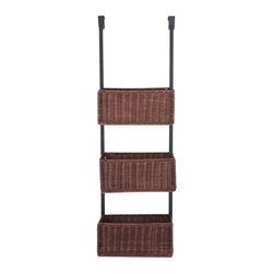 Holly & Martin - 3-Tier Basket Storage - Includes three rattan woven baskets. Convenient over the door hanging design. Made from metal tube and rattan. Black and espresso finish. Each basket:  11.25 in. W x 4.75 in. D x 5 in. H. 12 in. W x 8.25 in. D x 38.25 in. H  (8.57 lbs.). Assembly InstructionsPerfect for the craft room or any other room of your home this over-the-door 3-tier basket storage unit is a must have. With 3 rattan woven basket this unit is the perfect way to organize your yarn or towels, and it conveniently fits over most doors.