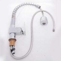 JollyHome - JollyHome Single Lever Handle Pull out Wholesale Kitchen Faucets Silver - Easy to install.Easy-to-operate handles.Drip free ceramic spool for a long time operation.Constructed from solid brass for durability and reliability.Hot and cold water dispensers.Water pressure tested for industry standard.The weight is gross weight
