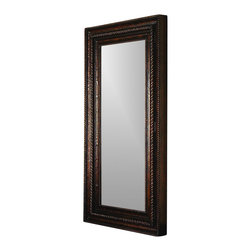 """Hooker Furniture - Floor Mirror with Hidden Jewelry Storage - White glove, in-home delivery included!  This handsome floor mirror opens to reveal a delightful surprise: hidden, felt-lined jewelry storage.  It has a rich brown gesso finish with black rub-through and gold highlights and a heavily gadrooned frame with rope molding that acts as the door pull.   Attaches to the wall for stability.  Mirror opens to reveal felt-lined interior with two shelves, ring storage, necklace hooks and pouches with Velcro for jewelry storage.  Door: 32 1/8"""" w x 2 1/8"""" d x 70 5/8"""" h  Mirror Glass: 23 3/8"""" w x 61 1/4"""" h"""