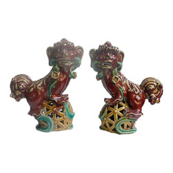 Golden Lotus - Pair Chinese Color Ceramic Fu Dogs Accent Home Figure Hcs602-4 - This is a traditional Chinese handcrafted decorative oriental style Fu dog figure with detail scroll curl hair pattern , ribbon and round ball as an accent.