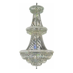 """PWG Lighting / Lighting By Pecaso - Adele 38-Light 42"""" Crystal Chandelier 1533G42C-EC - This classic, elegant Empire series is flowing with symmetry creating a dramatic explosion of brilliance. Adele is a dynamic collection of Crystal Chandeliers that add decorative drama to any setting."""