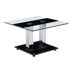 Global Furniture - Global Furniture USA T2108 Square Glass End Table w/ Silver Legs - This table features clear glass top with a black strip and chrome metal legs and black base to finish the look.