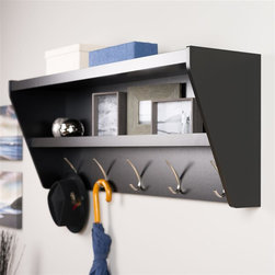 Prepac - Floating Entryway Shelf and Coat Rack in Blac - Finished in durable black laminate. Features 5 Solid Metal Hooks. Easy to install two-piece hanging rail system and mounting hardware included. Constructed from CARB-compliant, laminated composite woods . Ships Ready to Assemble, includes an instruction booklet for easy assembly and has a 5-year manufacturer's limited warranty on parts. Proudly Manufactured in Canada. 48.5 in. W x 11.75 in. D x 19.25 in. H Outfit your foyer with a smart and stylish storage solution, ready for anything your family can throw at it.  This modern shelf features 5 solid metal hooks that provide a perfect perch for coats, hats, and other entryway essentials.  Open design shelves provide a handy spot to drop your keys, purse, wallet or to display decorative items. This product ships Ready To Assemble and includes an easy to follow instruction booklet. Our innovative hanging rail system includes all mounting hardware which makes installing at any height a breeze.  Proudly manufactured in Canada using composite woods and finished with durable laminates.