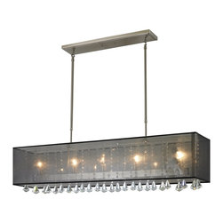 Z-Lite - Z-Lite Aura Kitchen Island / Billiard X-KB54-398 - The Aura family of linear shaded fixtures feature a stunning double line of multi faceted pyramid crystal. This fixture features a black organza shade. In all cases the fixtures are finished with brushed nickel.