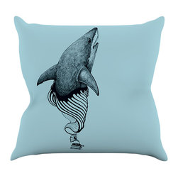 """Kess InHouse - Graham Curran """"Shark Record II"""" Throw Pillow (16"""" x 16"""") - Rest among the art you love. Transform your hang out room into a hip gallery, that's also comfortable. With this pillow you can create an environment that reflects your unique style. It's amazing what a throw pillow can do to complete a room. (Kess InHouse is not responsible for pillow fighting that may occur as the result of creative stimulation)."""