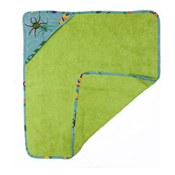 Little Lizards Hooded Towel - Our Hooded Towel is made with the finest ultra soft 100% Cotton. Designer print is crawling with playful little lizards, snakes, frogs and dragonflies against a sage green background.