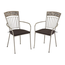 Home Styles - Home Styles Glen Rock Outdoor Dining Chair in Gray (Set of 2) - Home Styles - Patio Dining Chairs - 5607802 - A swirling dark palette of blacks & grays create a contemporary look resembling the city skyline. Perfect for any setting...versatile enough for indoor use but built to sustain outdoor elements. Glen Rock Marble Dining Chairs w/ Cushions by Home Styles is constructed of powder-coated steel frame in a gray finish. Hand-crafted tumbled marble square tiles appear on the head rest in a natural occurring gray variation. Chairs feature dim gray two-tie weather resistant woven polyester cushions. Adjustable nylon glides prevent damage to surfaces caused by movement and provide stability on uneven surfaces.
