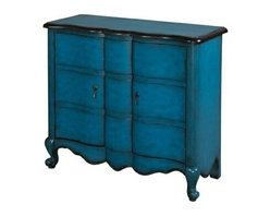 "Powell - Hand-Painted Detail Blue Scalloped 2-Door Chest - Hand-Painted Detail Blue Scalloped 2-Door Chest.  The perfect addiiton to your entryway, hallway or living area. The blue scalloped chest features a delicate scalloped front and decorative curved, sturdy feet. Two doors open wide to provide easy access to ample hidden storage space. A large top provides the perfect storage and display space. Console measures:   36"" x 14-3/4"" x 31"" tall.  Fully assembled.  Material Content: MDF & Solid wood"